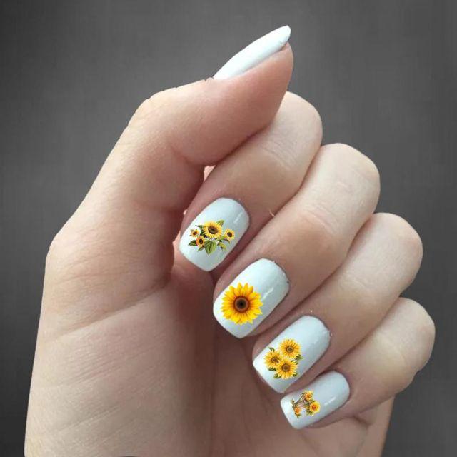 hubcitynails Sunflower Nail Decals