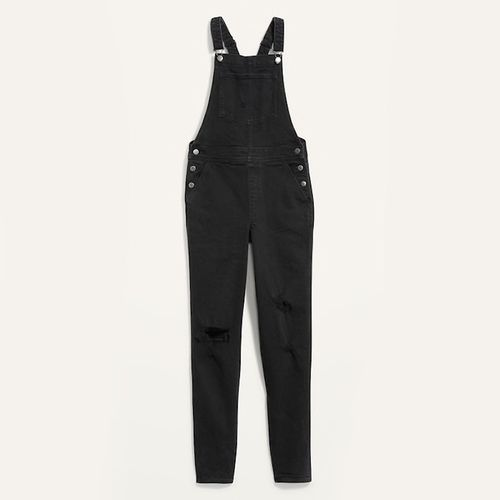 Old Navy O.G. Straight Black Jean Ripped Overalls