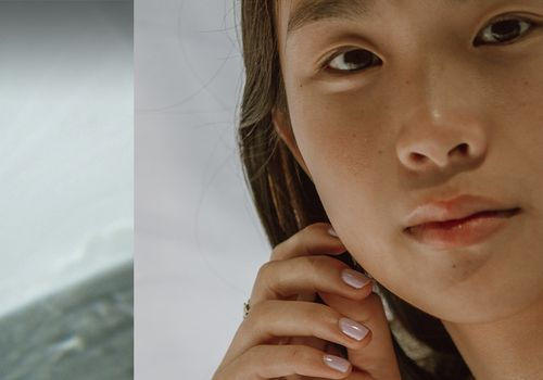 a split image of oil in a vial and a person facing the camera
