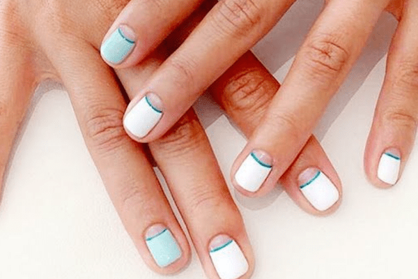 Blue and white manicure on short nails