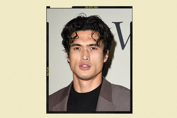 Charles Melton with curtains hair.