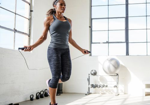 Woman Jumping Rope at the Gym