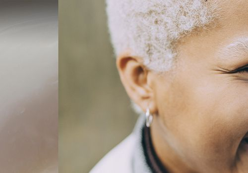 a collage of swirled lotion and a woman, smiling, with grey short hair