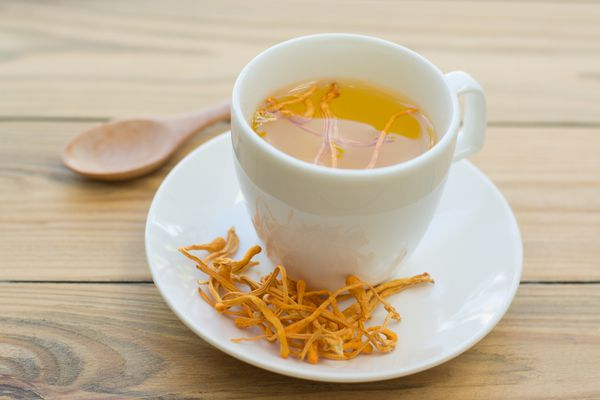 Dried cordyceps mushroom with cup on wooden table background